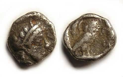 Ancient Coins - Athens, ca. 449-413 BC. Silver obol.