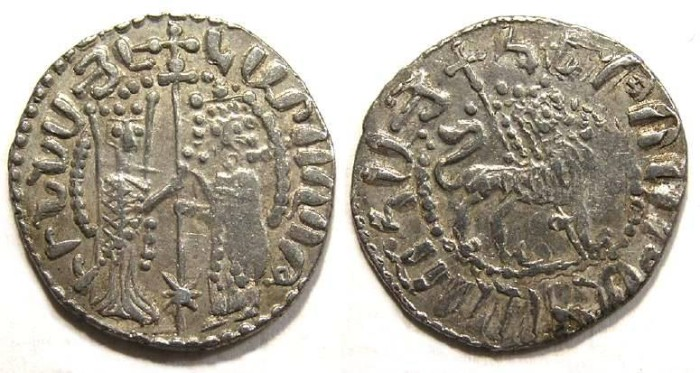 Ancient Coins - Armenia, Hetoum & Zabel, AD 1226 to 1270. Silver Tram.