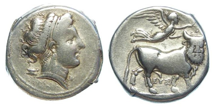 Ancient Coins - Neapolis in Campania (South Italy).  ca. 330 to 275 BC.  Silver didrachm.