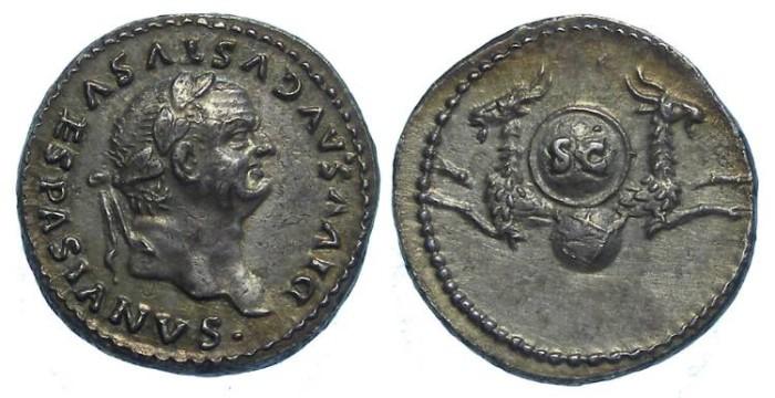 Ancient Coins - Vespasian deification commemorative issued by Titus. Silver denarius.