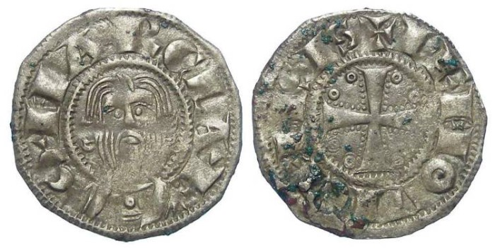 Ancient Coins - French Feudal. Limoges.  Abby of St. Martial.  ca. AD 1200 to 1243.  Silver denier.