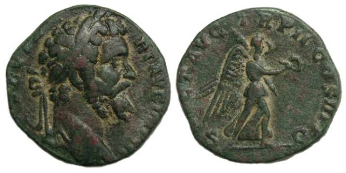 Ancient Coins - Septimius Severus, AD 193 - 211, Bronze sestertius