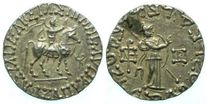 Ancient Coins - Indo-Greek, Scythian Kingdom of Pakistan, Azes II, 36 BC to 5 AD. Silver tetradrachm.