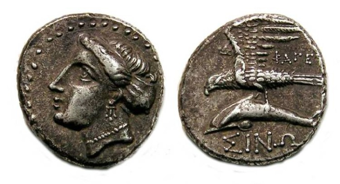 Ancient Coins - Paphlagonia, Sinope. ca. 330 to 300 BC. Silver drachm.