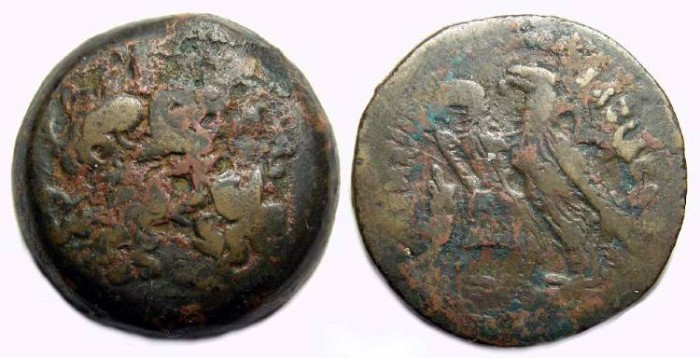 Ancient Coins - Ptolemaic Kingdom. Ptolemy VI and VIII joint reign, 170 to 164 BC. AE 29