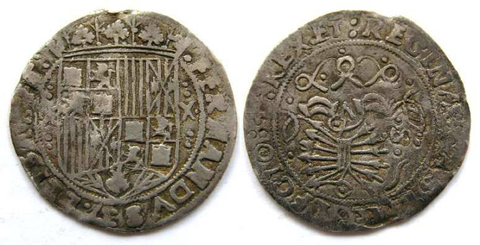 Ancient Coins - Spain, Ferdinand and Isabella, AD 1474 to 1504, 1 real.