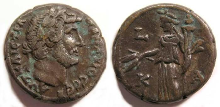 Ancient Coins - Hadrian, AD 117-137. Alexandrian Billon tetradrachm.