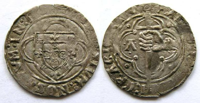 Ancient Coins - Portugal, Afonso V,  AD 1438 to 1481. Silver espadim de bolhao