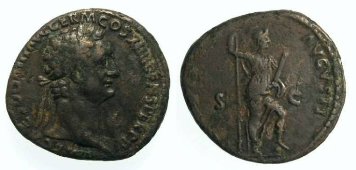 Ancient Coins - Domitian, AD 81 to 96. AE As.