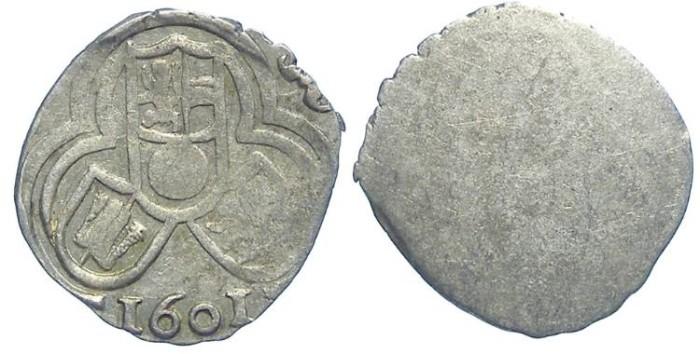 Ancient Coins -  Austria, Salzburg. Wolf Dietrich Von Raitenau, 1587 to 1612. Silver Zweier. Dated 1601.