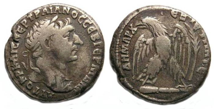 Ancient Coins - Trajan, AD 98 to 117, Silver tetradrachm from Tyre.