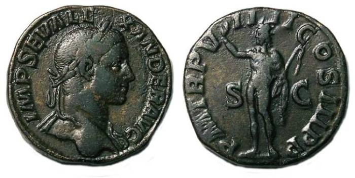 Ancient Coins - Severus Alexander. AD 222 to 235. Bronze sestertius