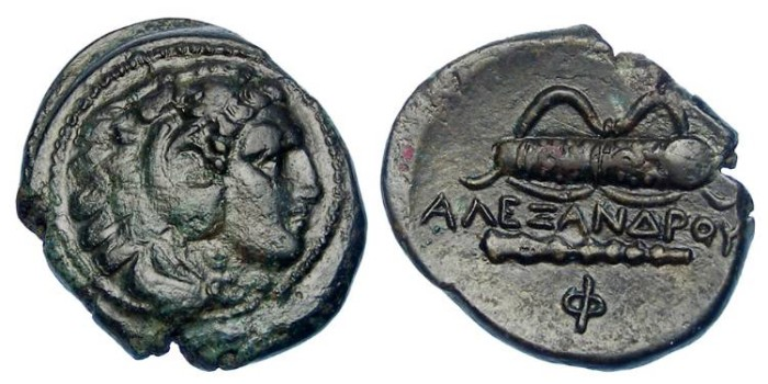 Ancient Coins - Macedonian Kingdom, Alexander the Great, 336 to 323 BC. AE 18.