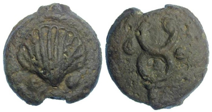 Ancient Coins - Roman Republican Aes Grave. AE Sextans. ca. 280 to 269 BC.
