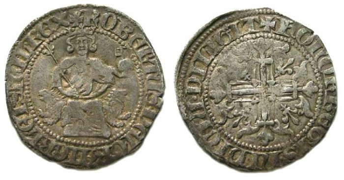 Ancient Coins - Italy, Kings of Naples, Robert II D'Anjou, AD 1309 to 1343. Silver Gigliato