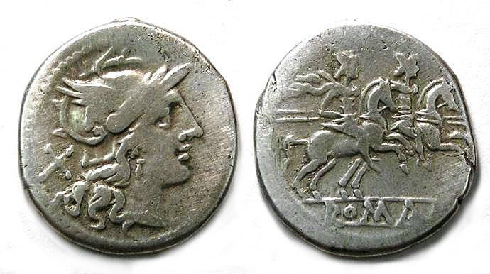 Ancient Coins - Roman Republic. Anonymous denarius. ca. 211 to 207 BC.