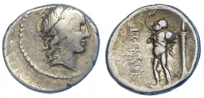 Ancient Coins - Roman Republic. L Marcius Censorinus. ca. 82 BC. Silver denarius.