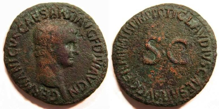 Ancient Coins - Germanicus.  Copper As struck under Claudius in AD 42