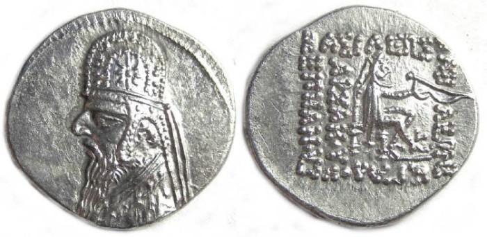 Ancient Coins - Parthia, Mithradates II, 123-88 BC. Silver drachm. VERY BRIGHT METAL.