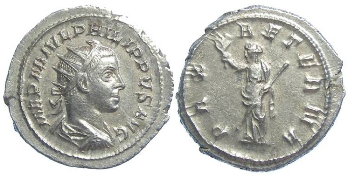 Ancient Coins - Philip II as Augustus, AD 246 to 249. Silver antoninianus. EXCEPTIONAL CENTERING ON A MEDALLIC FLAN.
