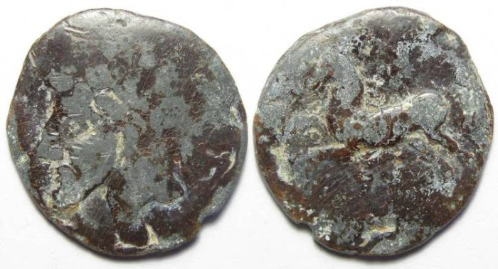 Ancient Coins - Numidia in North Africa.  King Micipsa.  ca. 148 to 118 BC. Lead unit.