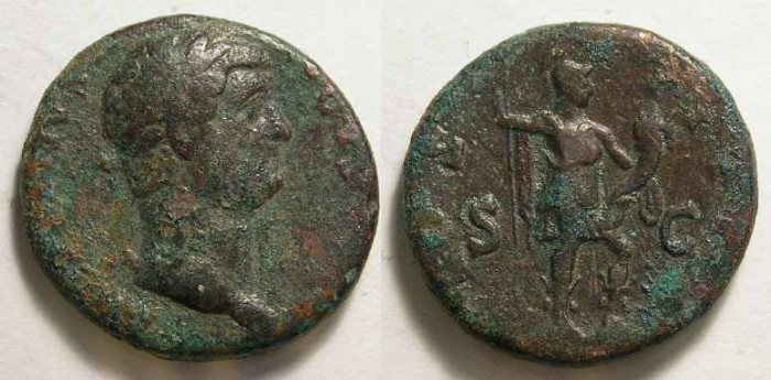 Ancient Coins - Hadrian, AD 117 to 138, Copper As.
