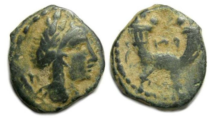 Ancient Coins - Nabataean, Aretas IV. 9 BC to AD 40. AE 14