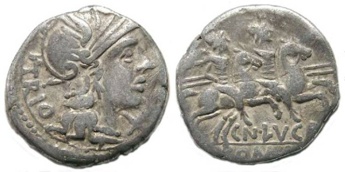 Ancient Coins - Roman Republic. Cn. Lucretius Trio. ca. 136 BC. Silver denarius