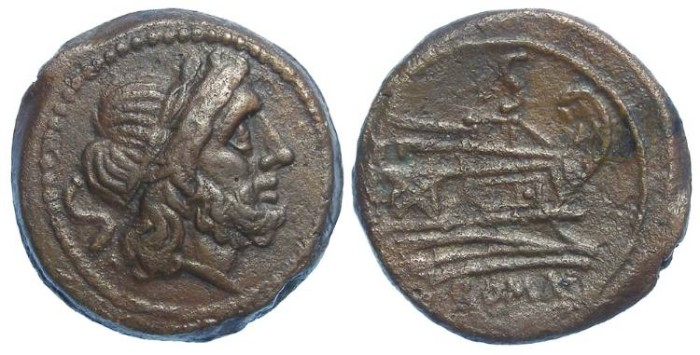 Ancient Coins - Roman Republic. Anonymous struck Semis. Post 211 BC.