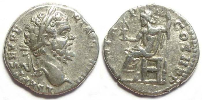 Ancient Coins - Septimius Severus, AD 193 - 211, Silver denarius.