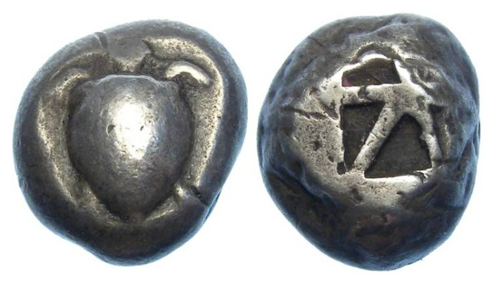Ancient Coins - Aegina. Silver stater. ca. 485 to 480 BC.