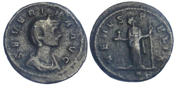 Ancient Coins - Severina, wife of Aurelian. AD 270 to 275. Bronze denarius.