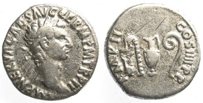 Ancient Coins - Nerva, AD 96 to 98. Silver denarius