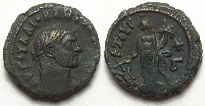 Ancient Coins - Alexandria, Diocletian, AD 284 to 305, Yr-3 potin tetradrachm. 18 mm.