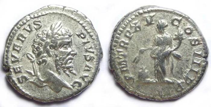 Ancient Coins - Septimius Severus, AD 193 to 211, Silver denarius.