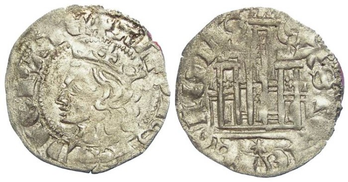 World Coins - Spain, Castile & Leon. Alfonso XI, AD 1312 to 1350.  Billon Coronado.