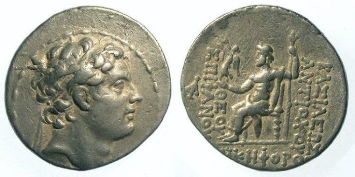 Ancient Coins - Seleukid. Antiochos IV, 175 to 164 BC. Silver tetradrachm.