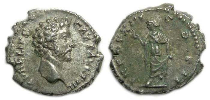 Ancient Coins - Marcus Aurelius as Caesar, AD 139 to 161, Silver denarius.