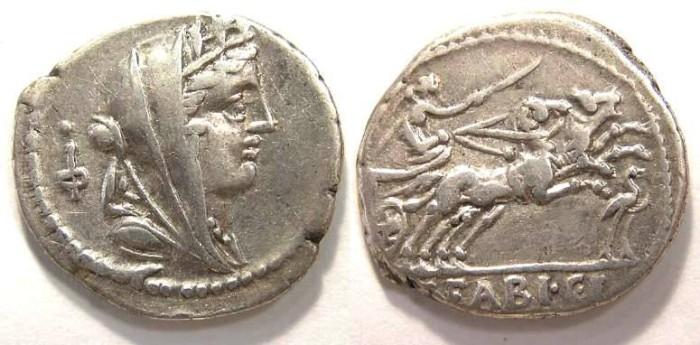 Ancient Coins - Roman Republic. C. Fabia c.f. Hadrianus. ca. 102 BC. Silver denarius