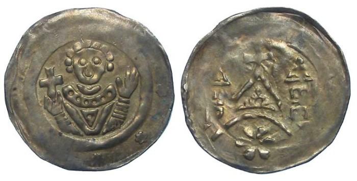 World Coins - Germany, Bamberg. Heinrich I. von Bilversheim , AD 1242 to 1257. Silver pfennig.