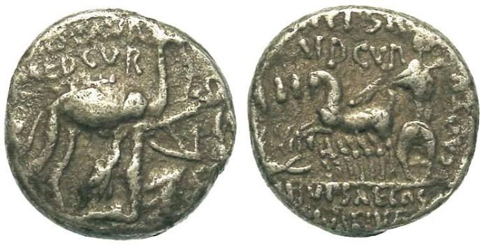 Ancient Coins - Roman Republic. M. Aemilius Scaurus and P. Plautius Hypsaeus. ca. 58 BC. Silver denarius.
