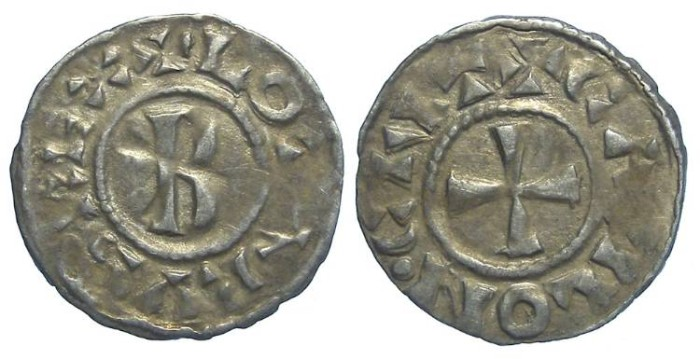 Ancient Coins - Carolingian, Lothaire, AD 954 to 986. King of the Franks.
