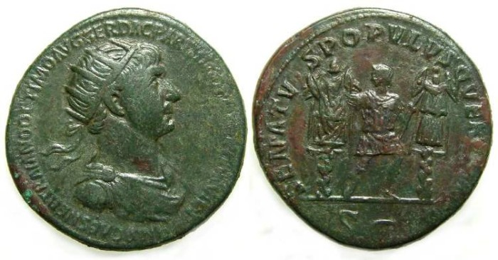 Ancient Coins - Trajan, AD 98 to 117, Bronze Dupondius.