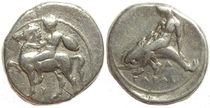 Ancient Coins - Taras. ca 4th century BC. Silver didrachm.