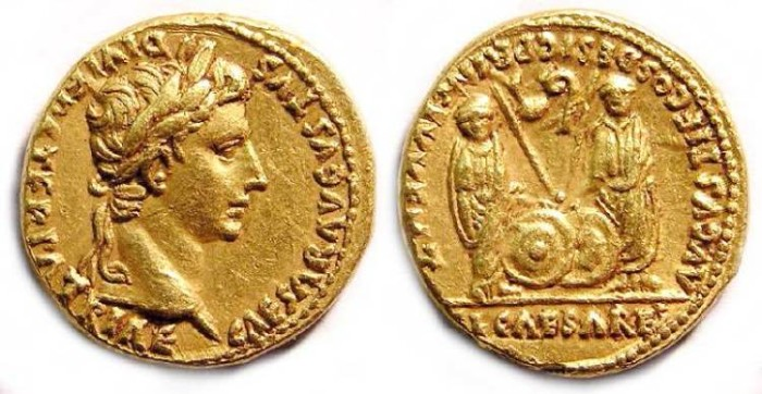 Ancient Coins - Augustus, 27 BC - 14 AD. gold aureus.