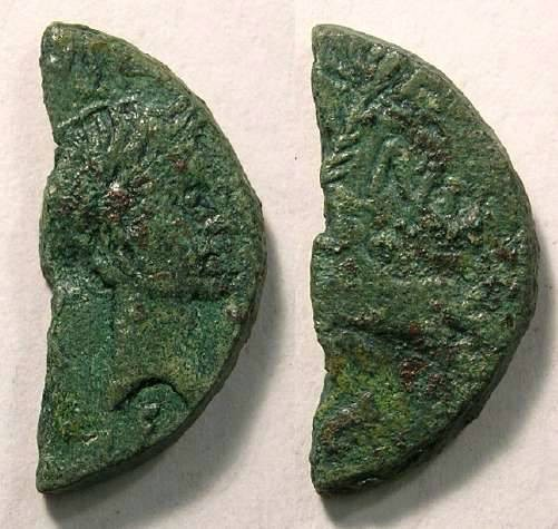 Ancient Coins - Nemausus.  Offically cut dupondius of Agustus and Agrippa.