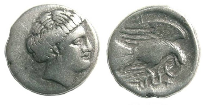Ancient Coins - Euboia, Chalkis. Silver drachm. 340-294 BC (or slightly later).