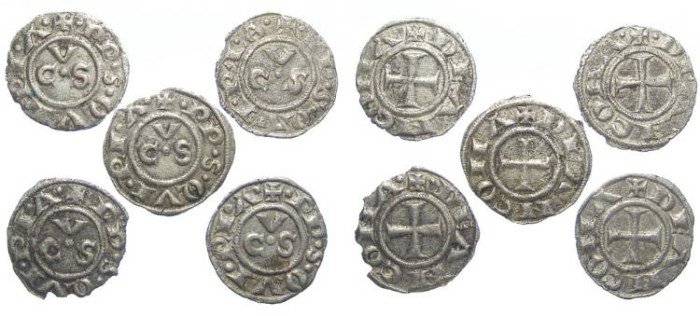 Ancient Coins - LOT OF 5 COINS. Italy, Ancona. 13th to 15th century Anonymous billon denaro.
