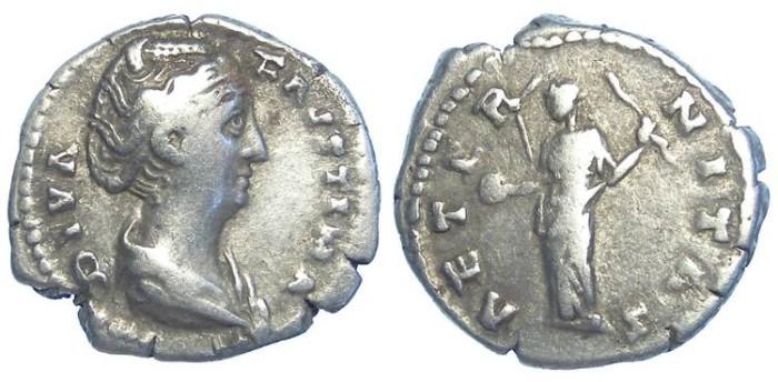 Ancient Coins - Diva Faustina Senior. Silver denarius. After AD 141.