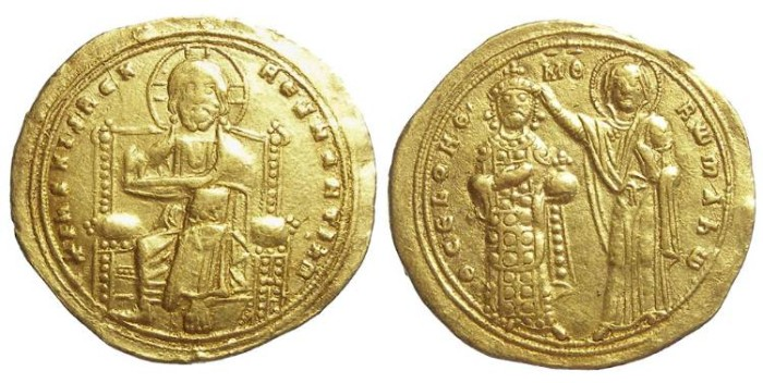 Ancient Coins - Byzantine. Romanus III, AD 1028 to 1038. Gold Histamenon Nomisma.  Scarcer variety with seven pellets on gown.
